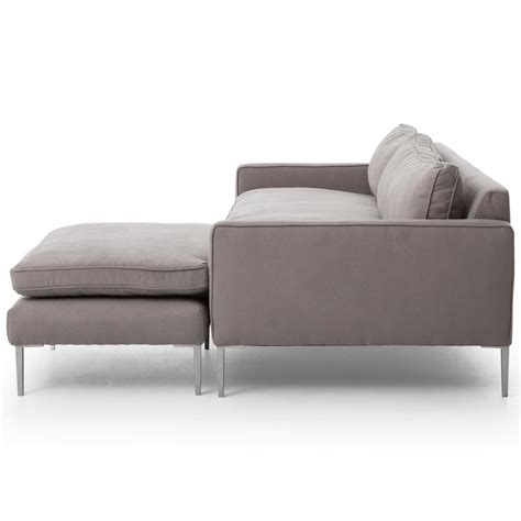 trista modern classic pewter twill steel sectional sofa