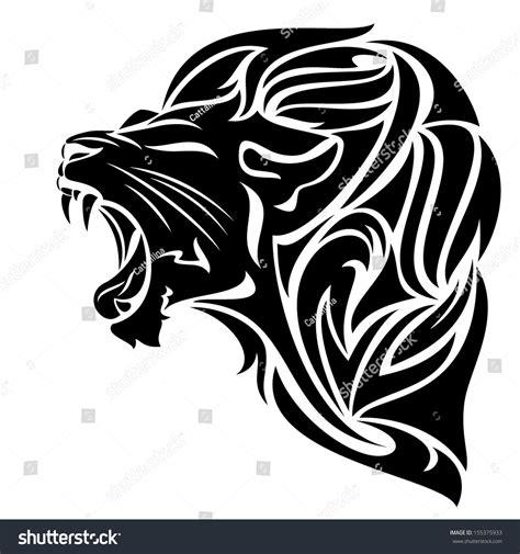 tribal pattern black n white furious lion black white vector outline stock vector