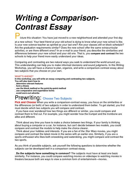 how to write compare and contrast essay sle sle compare and contrast essay high school 28 images