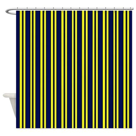Navy And Yellow Curtains Navy Yellow Stripes Shower Curtain By Printedlittletreasures
