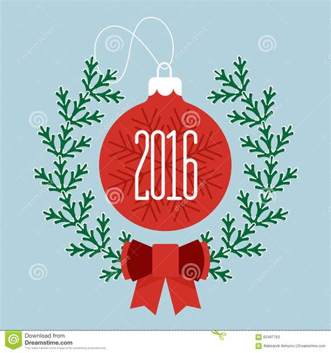 Greeting Card Template Merry by Merry And Happy New Year 2016 Stock Vector