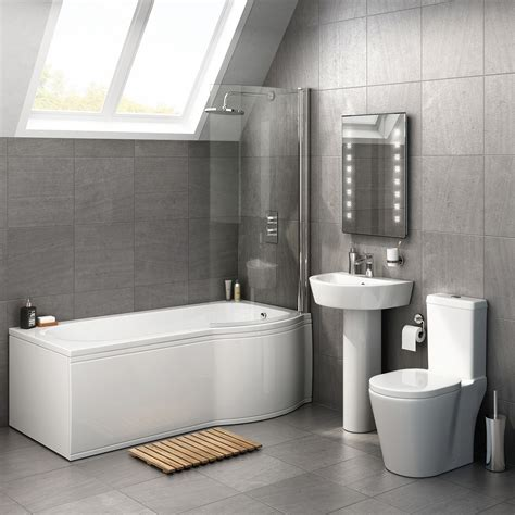 1700x850mm albi p shaped right handed shower bath suite