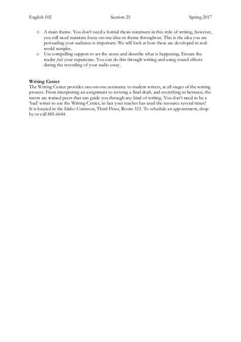 Audio Essay Writing by Project 2 The Audio Essay