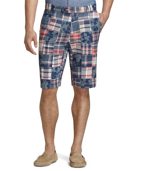 Mens Patchwork Shorts - brothers oxford lined madras patchwork shorts for