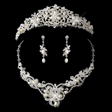 brautschmuck set diadem freshwater pearl and bridal tiara necklace set