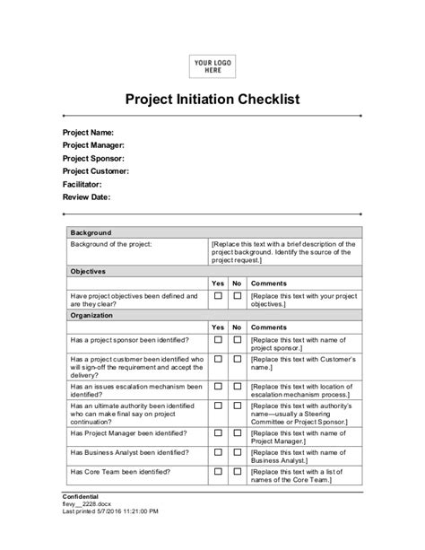 Project Initiation Checklist Agile Project Initiation Document Template