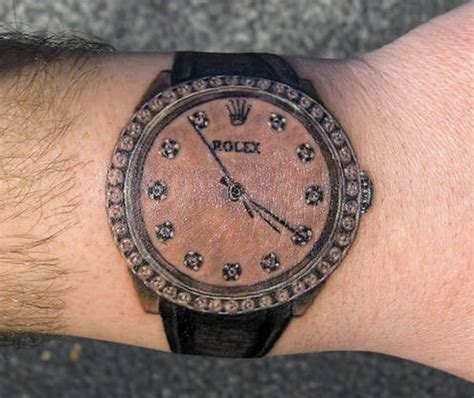 a diamond dialed rolex tattoo lets time stand still on