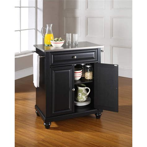 stainless steel top portable kitchen cart island in black crosley furniture cambridge stainless steel top portable