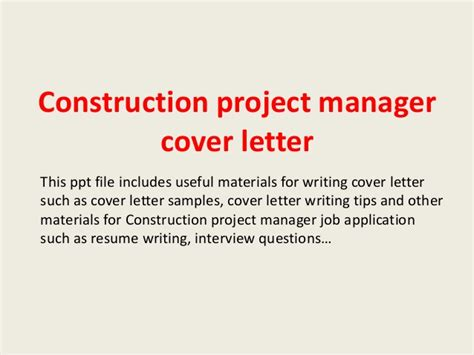 Best Construction Manager Cover Letter construction project manager cover letter