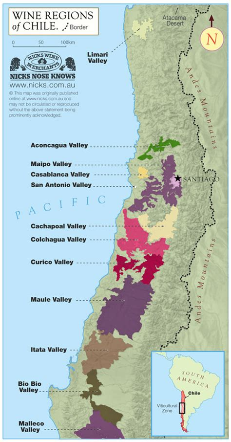 chile regions map map of chile s wine regions