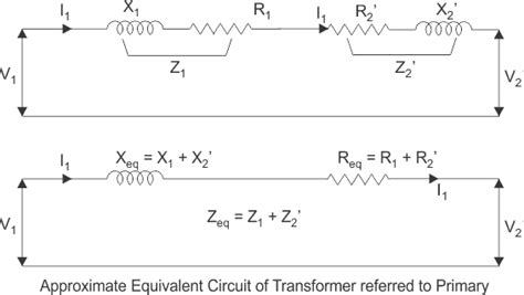 resistor in series with transformer primary equivalent circuit of transformer referred to primary and secondary