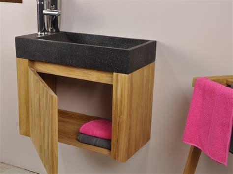 Ordinaire Lave Main Avec Meuble Ikea #2: Lave-main-et-meuble-suspendu-en-teck-luxe-70-noir.jpg