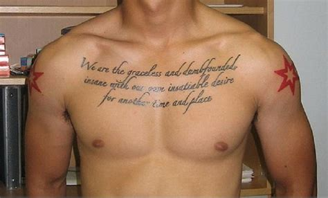 script tattoos for men awesome script chest for