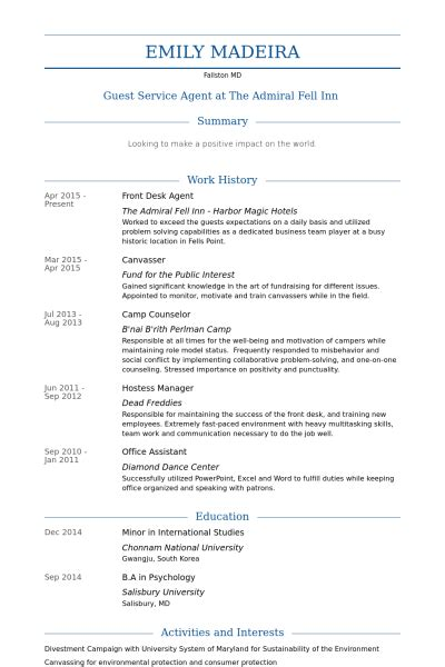 Front Desk Resume by De R 233 Ception Exemple De Cv Base De Donn 233 Es Des Cv