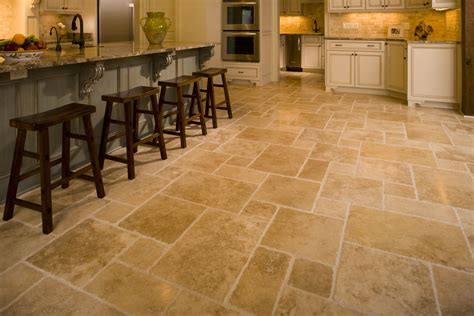 kitchen design with adorable floor tile design some stool