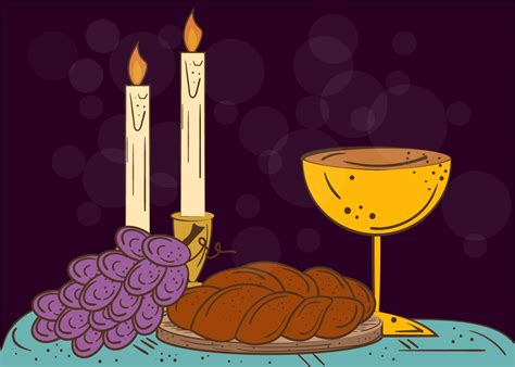 illustration of shabbat candles kiddush cup and challah