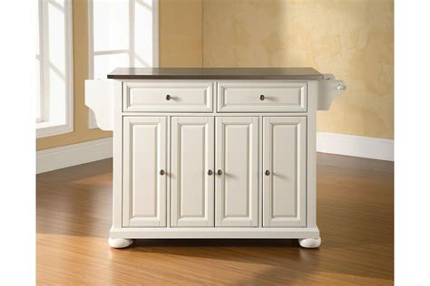 white kitchen island with stainless steel top alexandria stainless steel top kitchen island in white finish by crosley