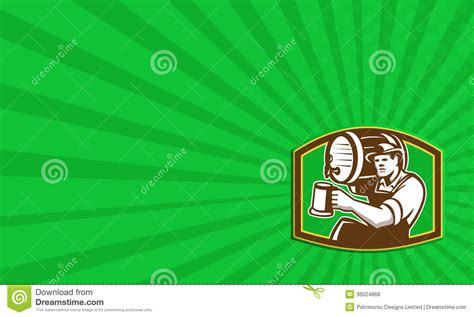 time card template for bartender barman bartender pour barrel retro stock illustration