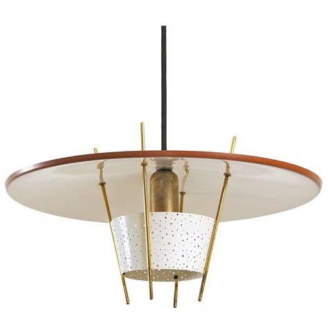 metal brass pendants perforated metal and brass pendant by ernest igl 1950 for