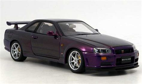 nissan purple nissan skyline r34 gt r v spec ii purple autoart