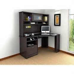 Cheap Corner Desk With Hutch Bush Cabot Corner Computer Desk With Hutch In Espresso Oak Walmart
