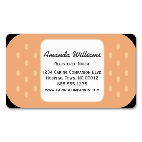 free nursing card template band aid or caregiver business card band