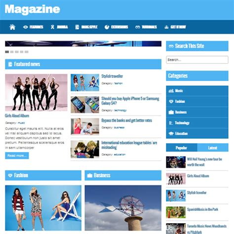 templates for joomla free magazine joomla template by beautiful templates