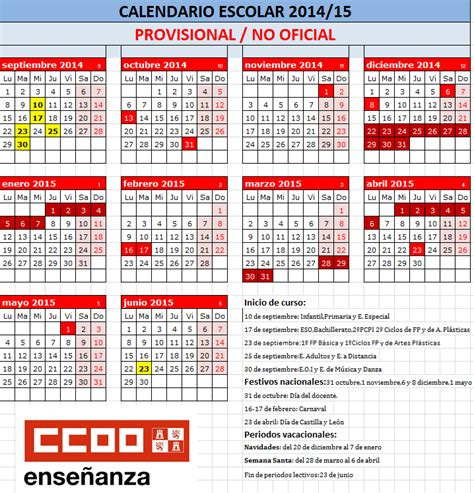 Calendario R Madrid 2015 Feccoocyl Calendario Escolar Curso 2014 2015