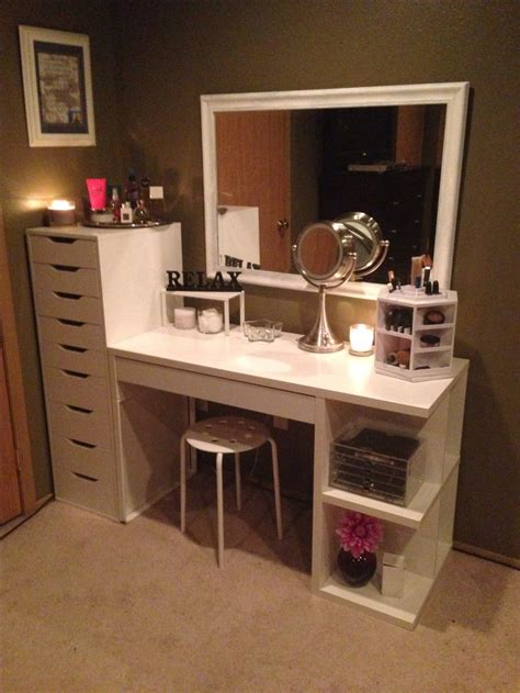 Vanity Area makeup organization and storage desk and dresser unit from ikea organization