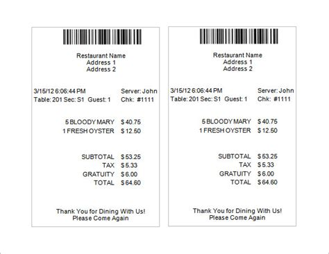 restaurant receipt templates free 19 restaurant receipt templates pdf word excel