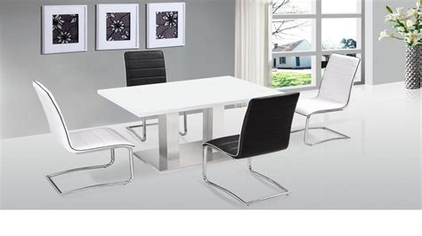 Contemporary White Dining Table And Chairs Ultra Modern White High Gloss Dining Table 4 Chairs Homegenies