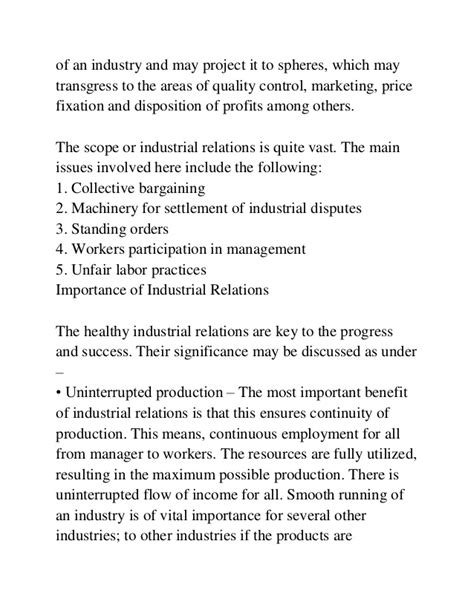 Industrial Relations Notes For Mba by Industrial Relations Mba