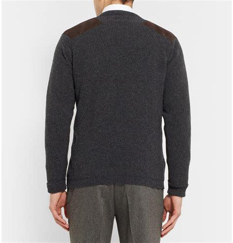 lyst kingsman geelong wool sweater with suede