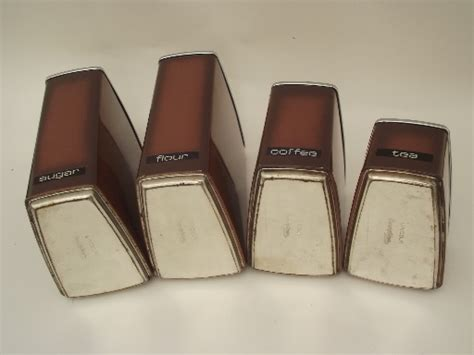 retro lincoln beautyware canister set 60s 70s wedge shape