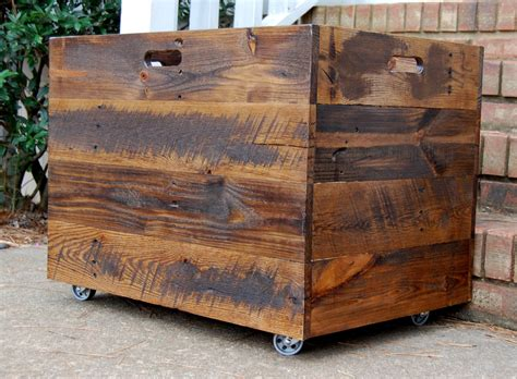 large wooden storage box  wheels
