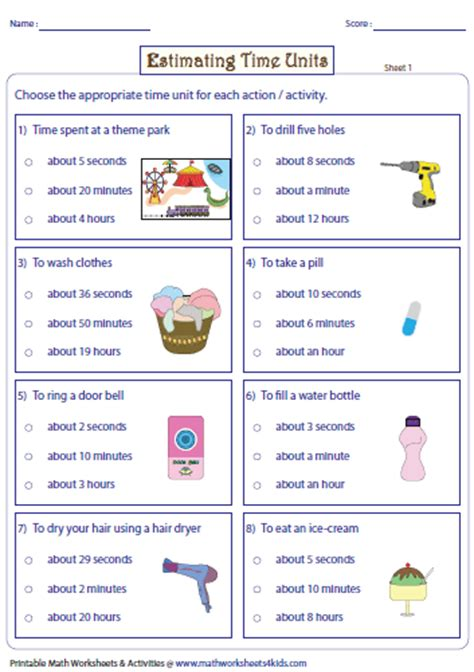 Minutes To Seconds Worksheet