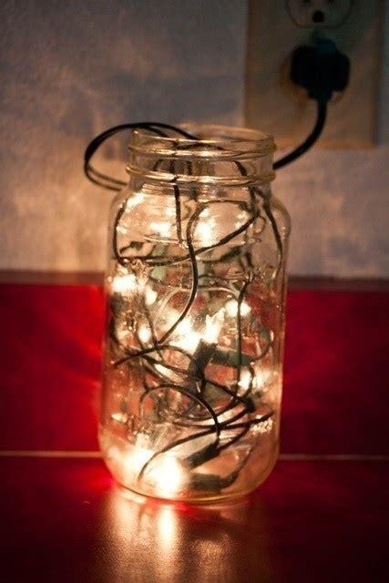 fill a mason jar with christmas lights lovely lighting