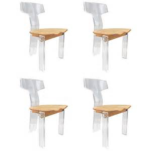 Perspex Dining Chair Four Sculptural Lucite And Oak Dining Chairs At 1stdibs