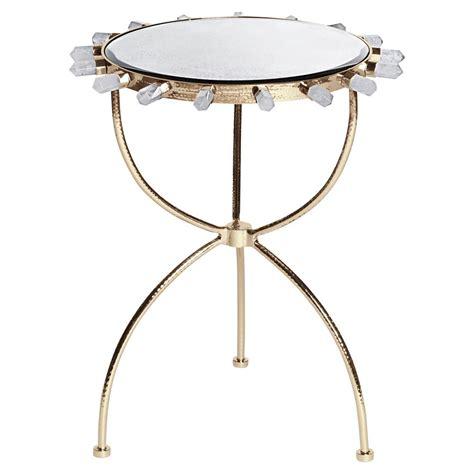 gold round side table gretchen hollywood regency quartz antique mirror gold