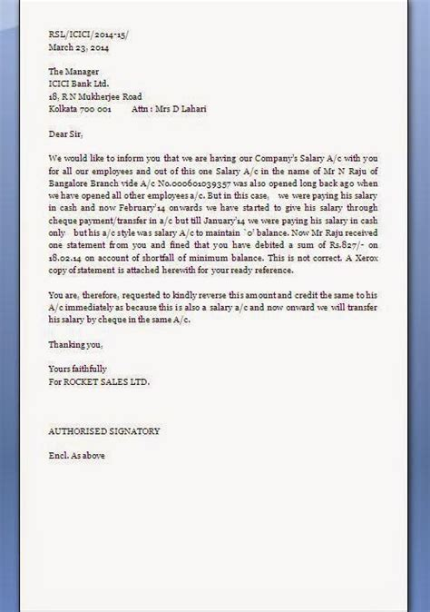 Complaint Letter Bank Charges Request Letter To Bank For Wrong Charges
