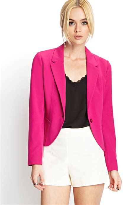 Blazer Forever 21 Forever 21 Single Button Blazer In Pink Lyst