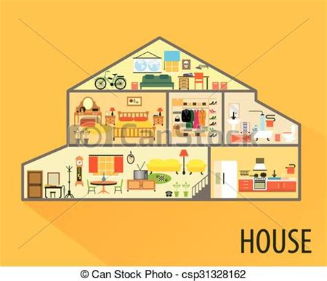 house with rooms clip art vector of house cartoon interior rooms with