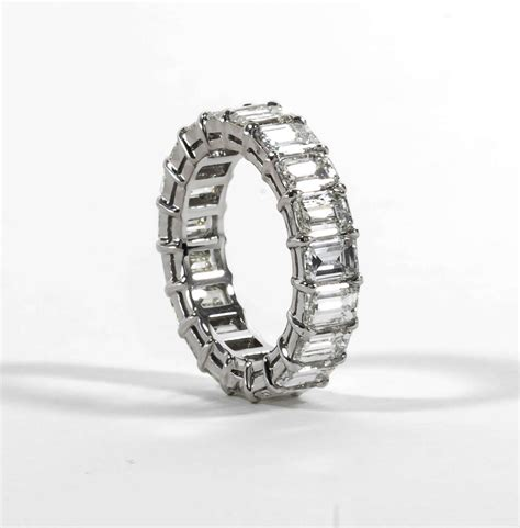 classic emerald cut platinum eternity band ring at
