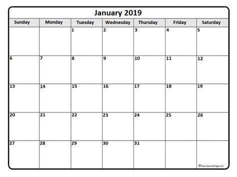 January 2019 Calendar Printable January 2019 Calendar January 2019 Calendar Printable
