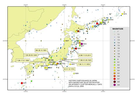 earthquake history map history of geology march 2011