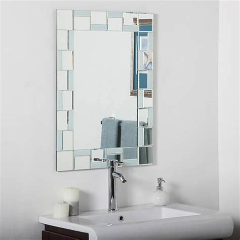 modern rectangular beveled bathroom mirror decor