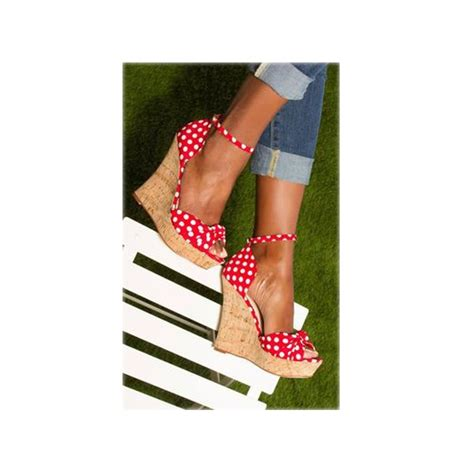 Wedges Pita Fs Polka and white polka dots wedge sandals ankle vintage heels for school date