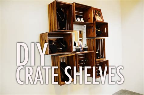 Wall Bookshelf by Diy Wood Crate Shelves Youtube