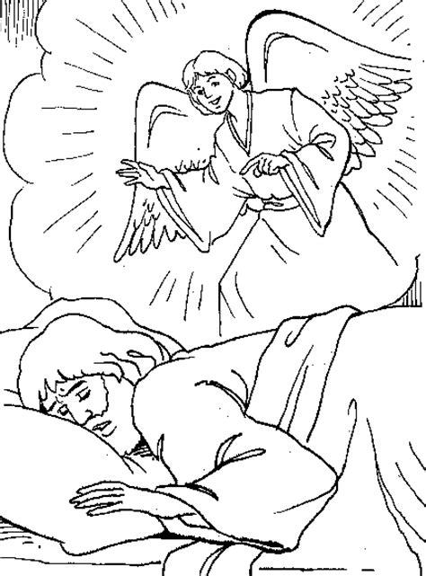 coloring page of angel visiting joseph el angel le habla a jos 233 para colorear dibujos