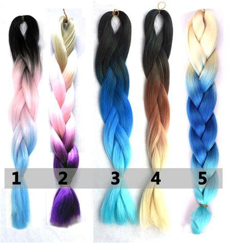 pictures of blue hair braided into brown hair kanekalon ombre 3 ton flechthaar blau lila rosa braun rot